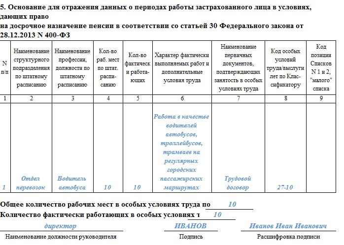 Как заполнить раздел 5 формы ОДВ-1