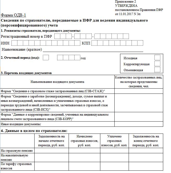 Скачать бланк ОДВ 1 за 2017 год